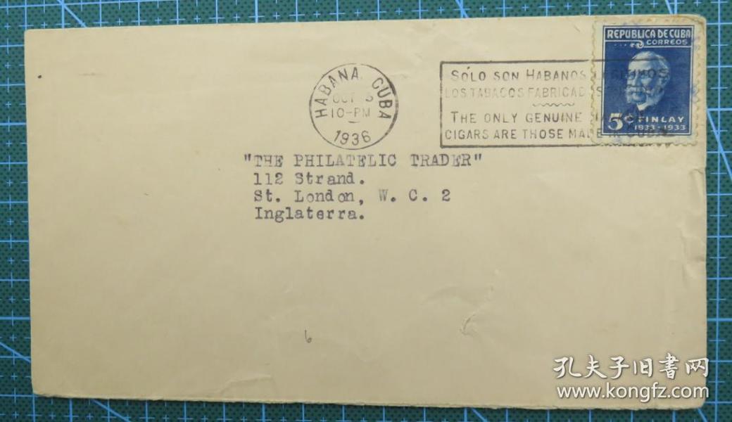 1936年10月5日古巴(哈瓦那寄伦敦)实寄封贴邮票1枚