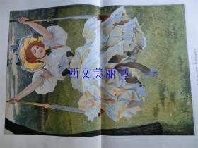 【现货 包邮】1900年巨幅套色木刻版画《春天里》(Frühlingslust)尺寸约56*41厘米 (货号 18022)