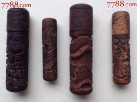 木制印章底面未刻,圆柱面雕《双龙戏珠》等一组