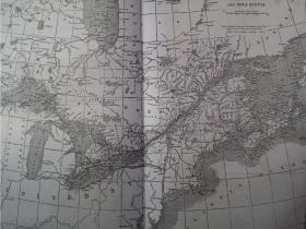 1860年 大型加拿大东部地图  可作墙饰、生日礼物、收藏 或 学术研究