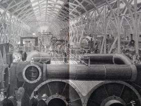 1862年 在英国举行的万国博览会展览机器的会场 大型版画 可作墙饰、生日礼物、收藏 或 学术研究