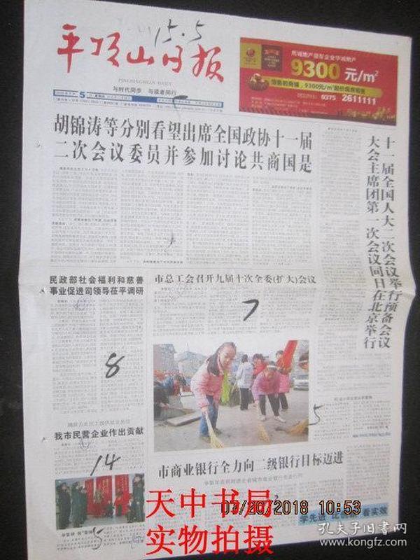 【报纸】平顶山日报 2009年3月5日【十一届全国人大二次会议举行预备会议 大会主席团第一次会议同日在北京举行】