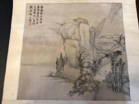 清代学者、金石学家、书画家吴大澂摹古山水镜片