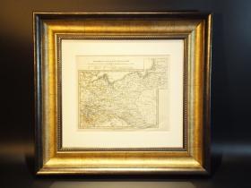 [吉守信艺术品宝库] 西洋古董地图精品系列(ASD1256) 19世纪铜版德国东北部地图         这是一副十九世纪中期的德国东北部地图,地图为铜版刷印,手工设色,标注经纬度,包含了普鲁士省,萨克森州以及梅克伦堡,什未林等地区。