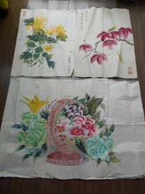 【夏晓峰,国画工笔花卉,3幅】