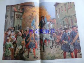 【现货 包邮】1900年巨幅套色木刻版画《战争结束》 Der Einzug des Fursten Leopold in Dessau Beendigung 尺寸约56*41厘米 (货号 18022)