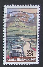 美国邮票-----阿拉斯加高速公路50年(信销票)