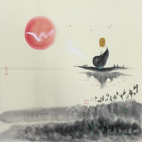 【保真】.【多福】山东省美协会员、山东省国画家协会会员、四尺斗方人物作品(68*68CM)禅意作品2。