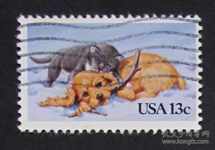 美国邮票----小猫和小狗(信销票)