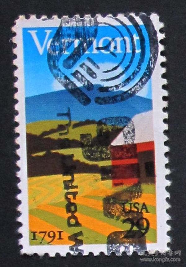 美国邮票-----佛蒙特州200年(信销票)