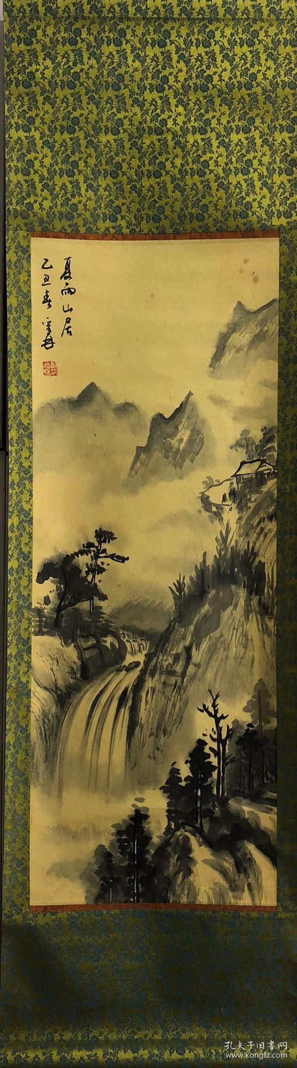 台湾高雄市书画家苏爰林纸本山水画一幅,1985年老画