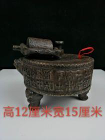 老物件, 纯手工紫砂壶一把,包浆自然,器型独特,可使用,可观赏,品相完整,尺寸:高12cm,宽15cm