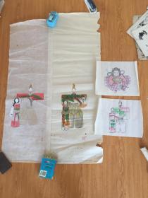 民国日本《和服木偶、太郎》四幅合售,三幅手绘一幅印刷