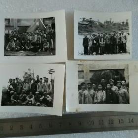 民国老照片;一组四张(民国时期学生合影)