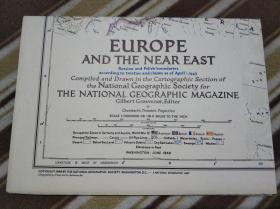 National Geographic国家地理杂志系列地图之1949年6月 Europe and The Near East 欧洲及中东地图