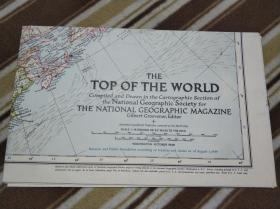 National Geographic国家地理杂志系列地图之1949年10月 Top of the world 北极地图