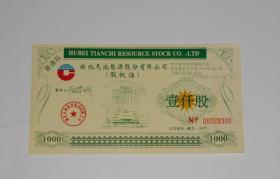 湖北天池能源股份有限公司股权证壹仟股 1996年