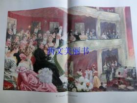 【现货 包邮】1900年巨幅套色木刻版画《 Das Freibillet 》  尺寸约56*41厘米 (货号 18022)