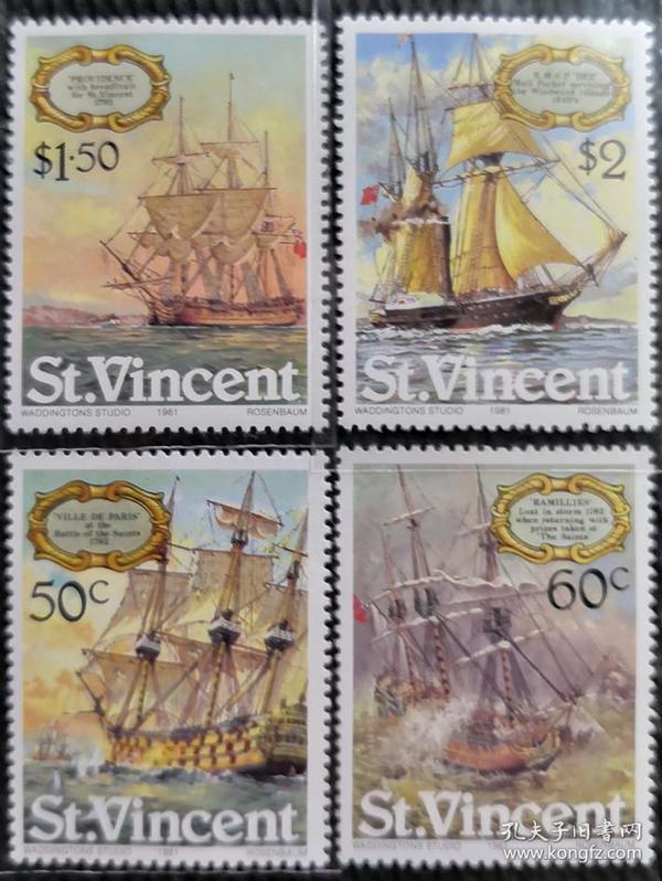 圣文森特1981年   绘画\海战\军舰等 4全 新 实拍