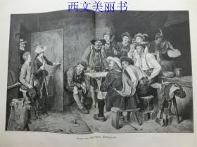 【现货 包邮】1890年巨幅木刻版画《午休》( Mittagsrast )   尺寸约56*41厘米 (货号 18030)