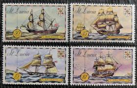 圣卢西亚1973年   古典帆船  4全新   实拍(包邮)