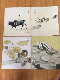 民国日本印刷名家画作四幅