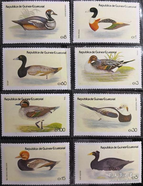 赤道几内亚 1978年  水鸟 野鸭    8全新  实拍如图