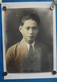 保存极为完好佚名民国男子大幅肖像照片