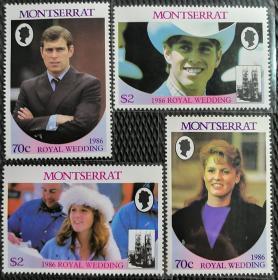 蒙特塞拉特1986年   安德鲁王子大婚   4全新大型票  实拍