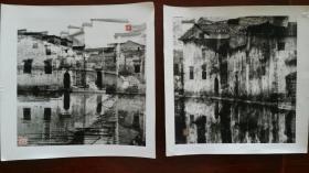 1996前后 安徽摄影家早期观念摄影《徽州 梦》摄影两张