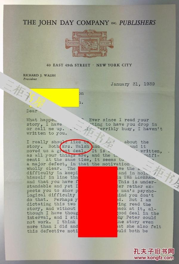 【赛珍珠纪念馆】赛珍珠丈夫理查德.沃尔什(Richard J. Walsh)签名信札,原信封,1939年1月/赛珍珠/Pearl S. Buck