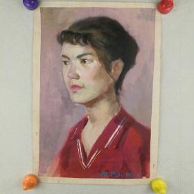保真字画  【佚名】 1979年   水彩画《红衣少女》  武汉市某中学 有签名