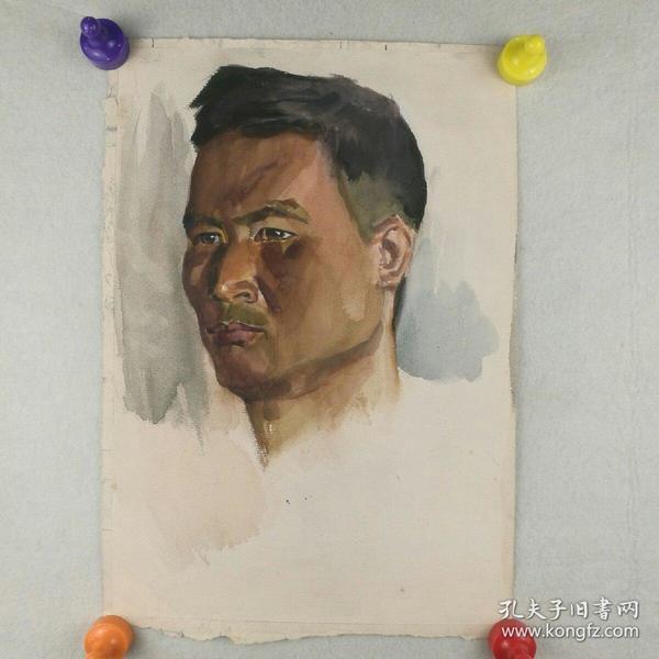 保真字画  八十年代 【佚名】   水彩画《男头像》二幅合售