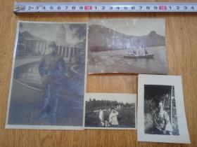 民国日本照片四张:日军,妇人、船游等