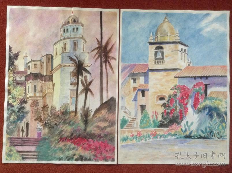 《水彩画》36幅合售,圆明园、城隍庙、水乡、白宫、大本钟等中外风情
