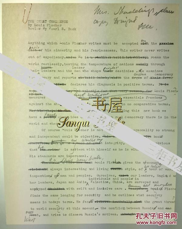 【赛珍珠纪念馆】赛珍珠 手稿,信札,书评/赛珍珠/Pearl S. Buck