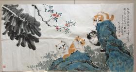 """已故猫王孙菊生作品,1913年生,北京人,祖籍浙江省余姚。汉族,字晓湖,别号雪彡翁。中国书画名家。是国内画猫流派中介于工笔画和写意画之间的重要代表人物。有""""猫王""""之称。卖家保真"""