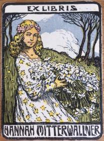早期木刻套色袖珍型藏书票抱花的女孩