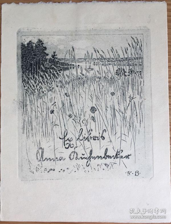 德国著名艺术家Robert Budzinski铜版藏书票芳草丛生的湖畔