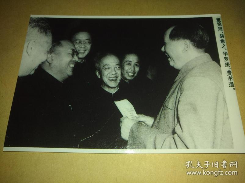毛泽东和生物遗传学家童第周、语言学家胡愈之、数学家华罗庚、社会学家费孝通等在一起交谈黑白照片【4寸】