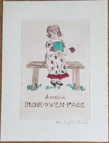 美国早期铜版酸刻精品藏书票板凳上的小女孩