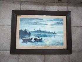 景色非常幽静的手绘水彩画