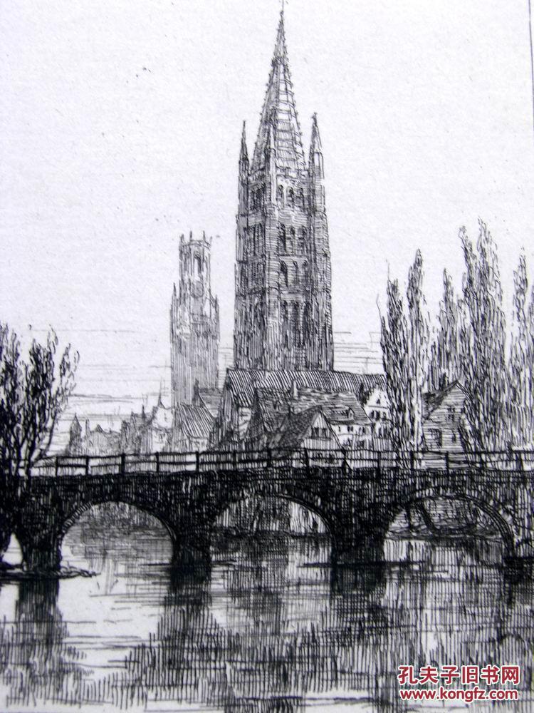 """1877年1版""""真正的蚀刻铜版画""""《比利时布鲁日的圣母教堂和钟楼》——""""图片"""