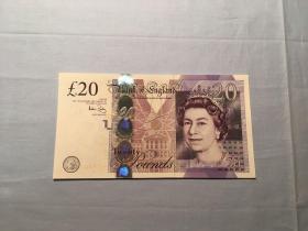 英镑 英国纸钞 老钱 20英镑 全新挺版 从未用过 收藏好品相
