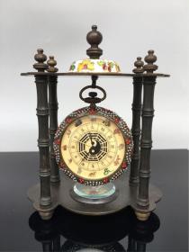 收来的老铜表 景泰蓝装饰钟表摆件