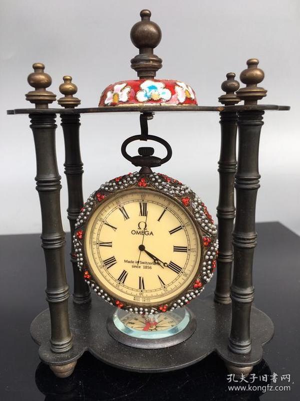 黄铜景泰蓝西洋钟表摆件 老旧货 欧式家居复古钟表摆件收藏