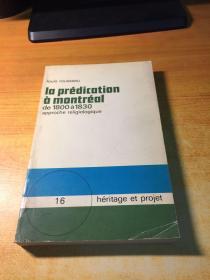 la prédication à montréal 1800-1830(原版法文)