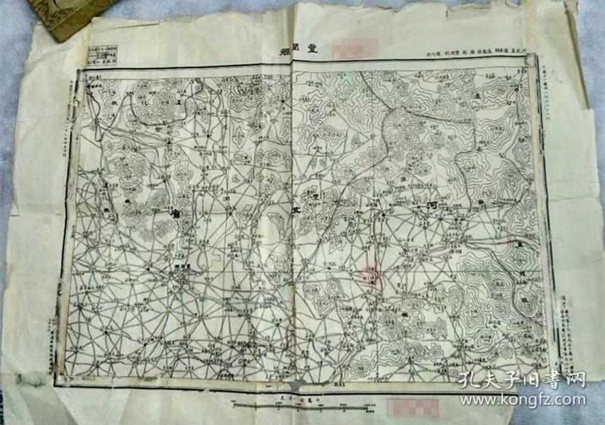 """民国二十二年,参谋本部陆地测量总局出版""""丰润县""""地图,55X37厘米"""