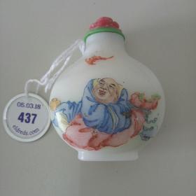 料器粉彩鼻烟壶 19世纪晚期