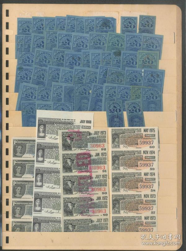 早期美国香烟税票、债券期票等约76枚